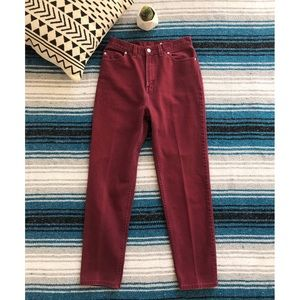 Vintage Wine Red High Waisted Jeans